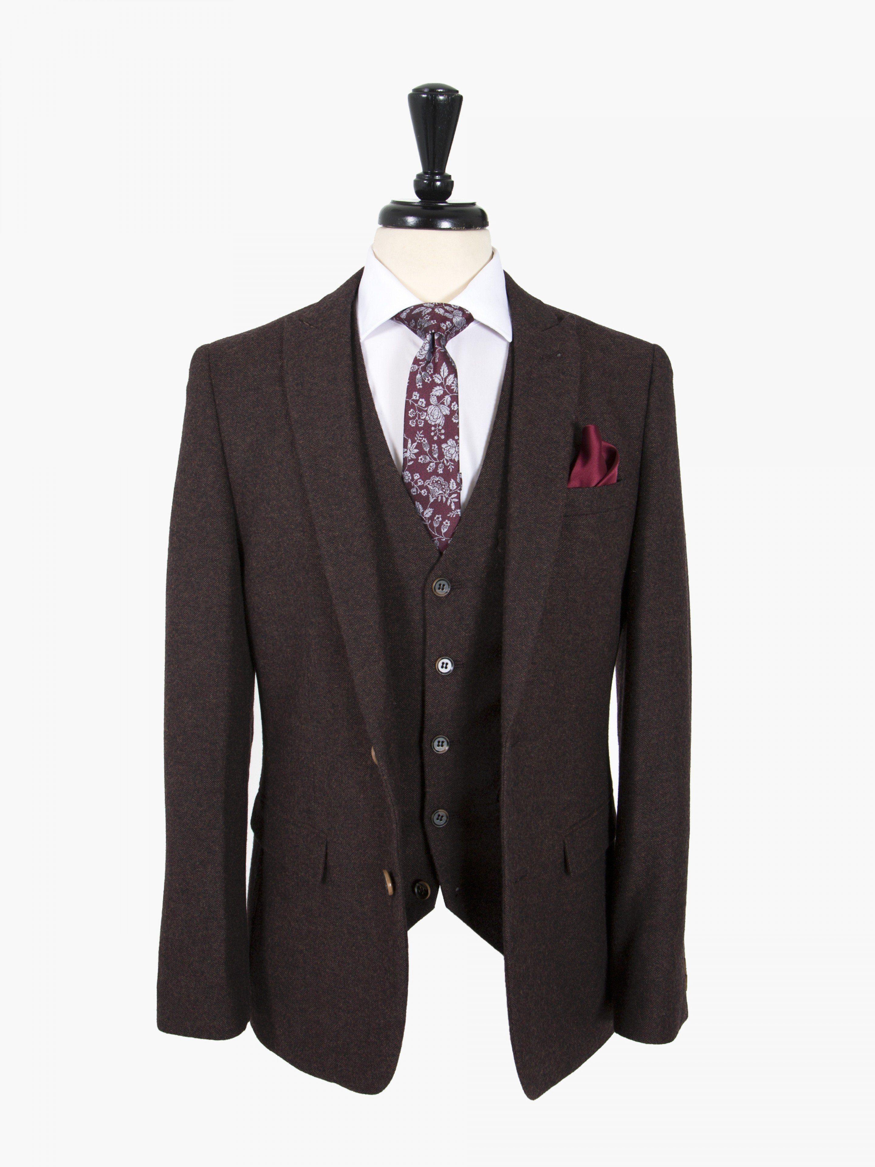 Harry Brown Burgundy Tweed Slim Fit Three Piece Suit