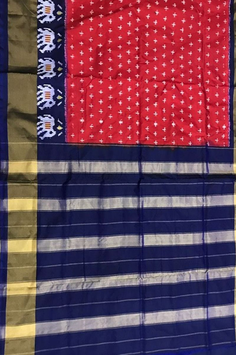Pure silk saree 2018 buy red handloom double ikat pure silk saree with star design and