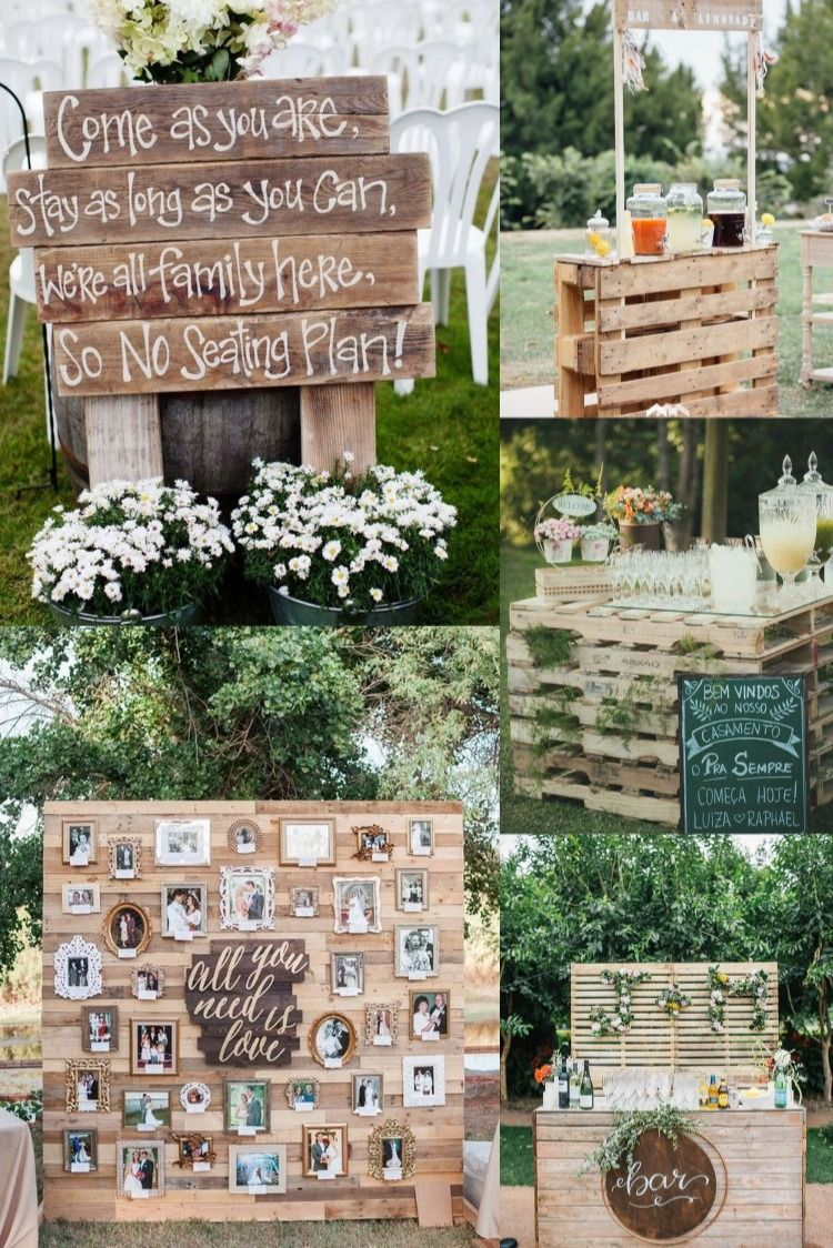 20 Rustic Country Wooden Pallets Wedding Decoration Ideas Pallet Wedding Decor Pallet Wedding Backyard Bbq Wedding Reception