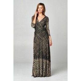http://www.salediem.com/shop-by-size/small/damask-border-print-wrap-dress.html #salediem #fallwardrobe