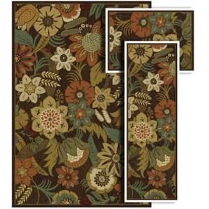 Oriental Weavers Tao Wild Flowers Brown 4 Ft 11 In X 7 Ft 3 Piece Rug Set 61614 At The Home Depot Rug Sets Oriental Weavers Transitional Rugs