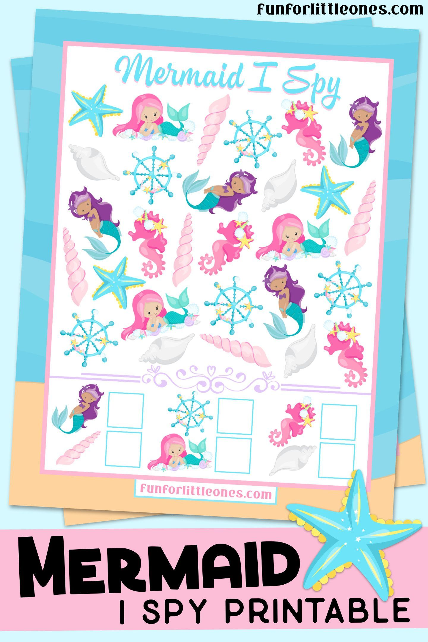 Mermaid I Spy Game Printable For Kids Free