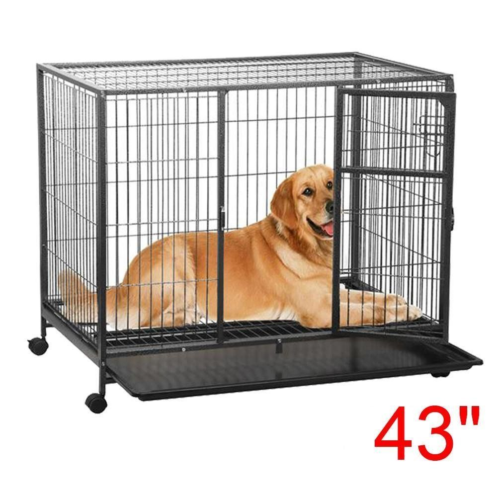 Yaheetech Heavy Duty Black Dog Crate Cage Kennel Metal