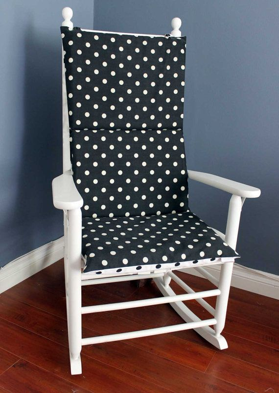 Polka Dot Rocking Chair Cushions Office Chairs For Tall People Cushion Spotty Black White Olive By Rockincushions 75 00