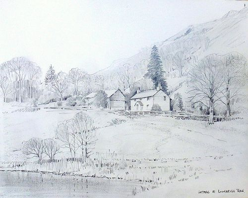 48 01 Cottage At Loughrigg Tarn Art Pictures Architecture Sketch Drawings