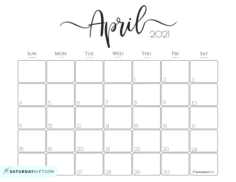April Monthly Calendar 2021 Elegant 2021 Calendar by SaturdayGift   Pretty Printable Monthly