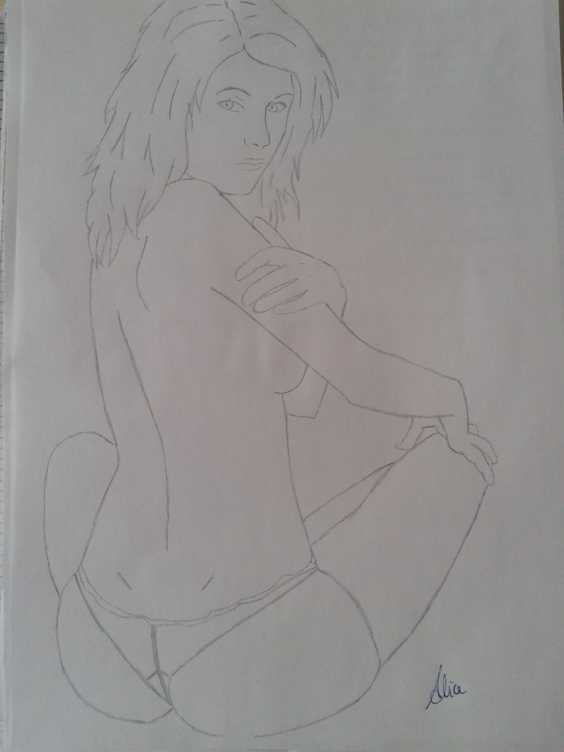 Pencil drawing on wax paper woman sitting half naked woman sitting back with your legs crossed