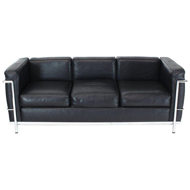 Alivar Le Corbusier Black Leather Three Seat Sofa Sofa Le Corbusier Sofa Le Corbusier