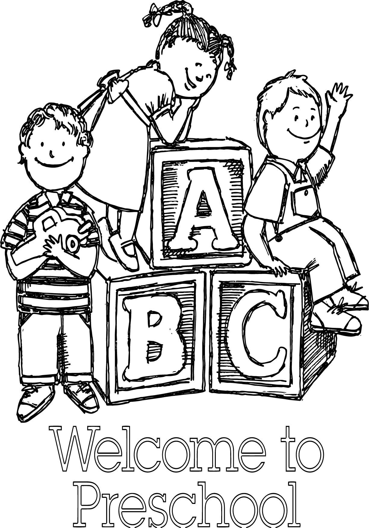 Welcome To Preschool Sketch Coloring Page