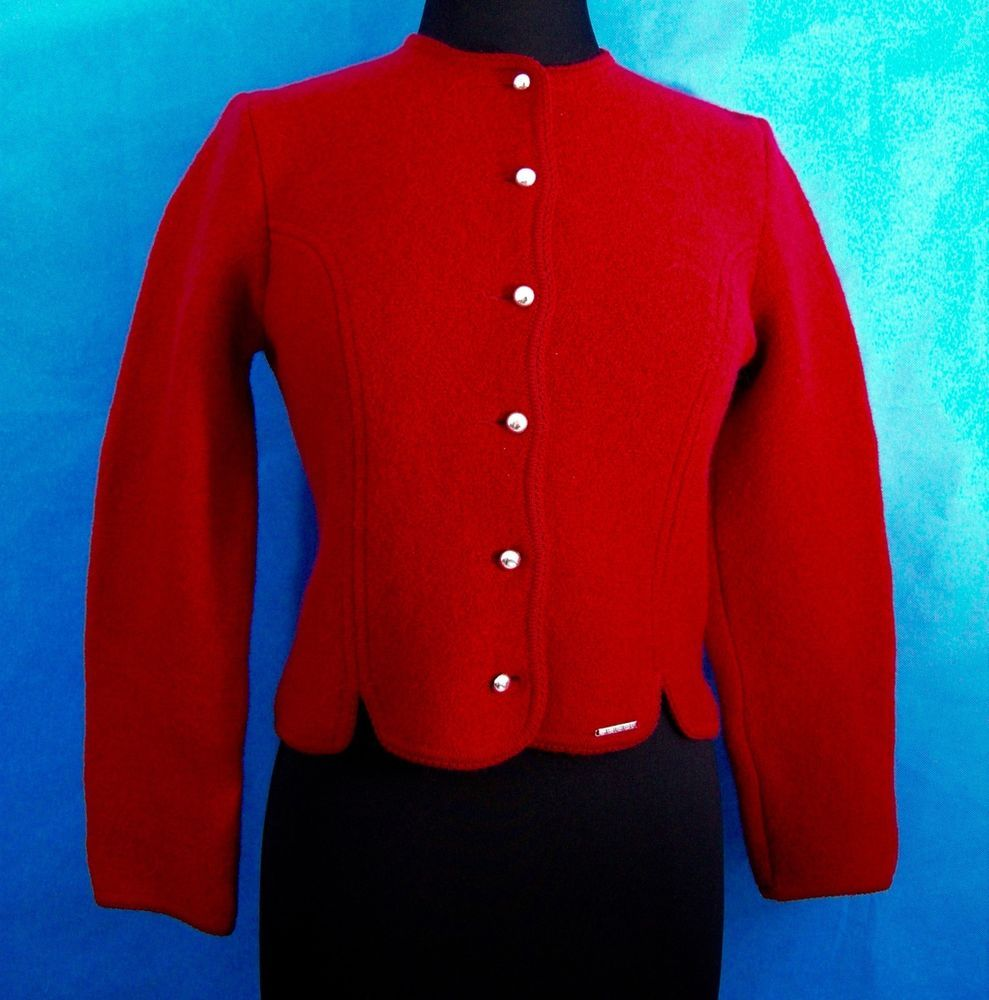 Geiger of Austria New Wool Red Short Jacket S 38 Eur 6-8 US Women ...