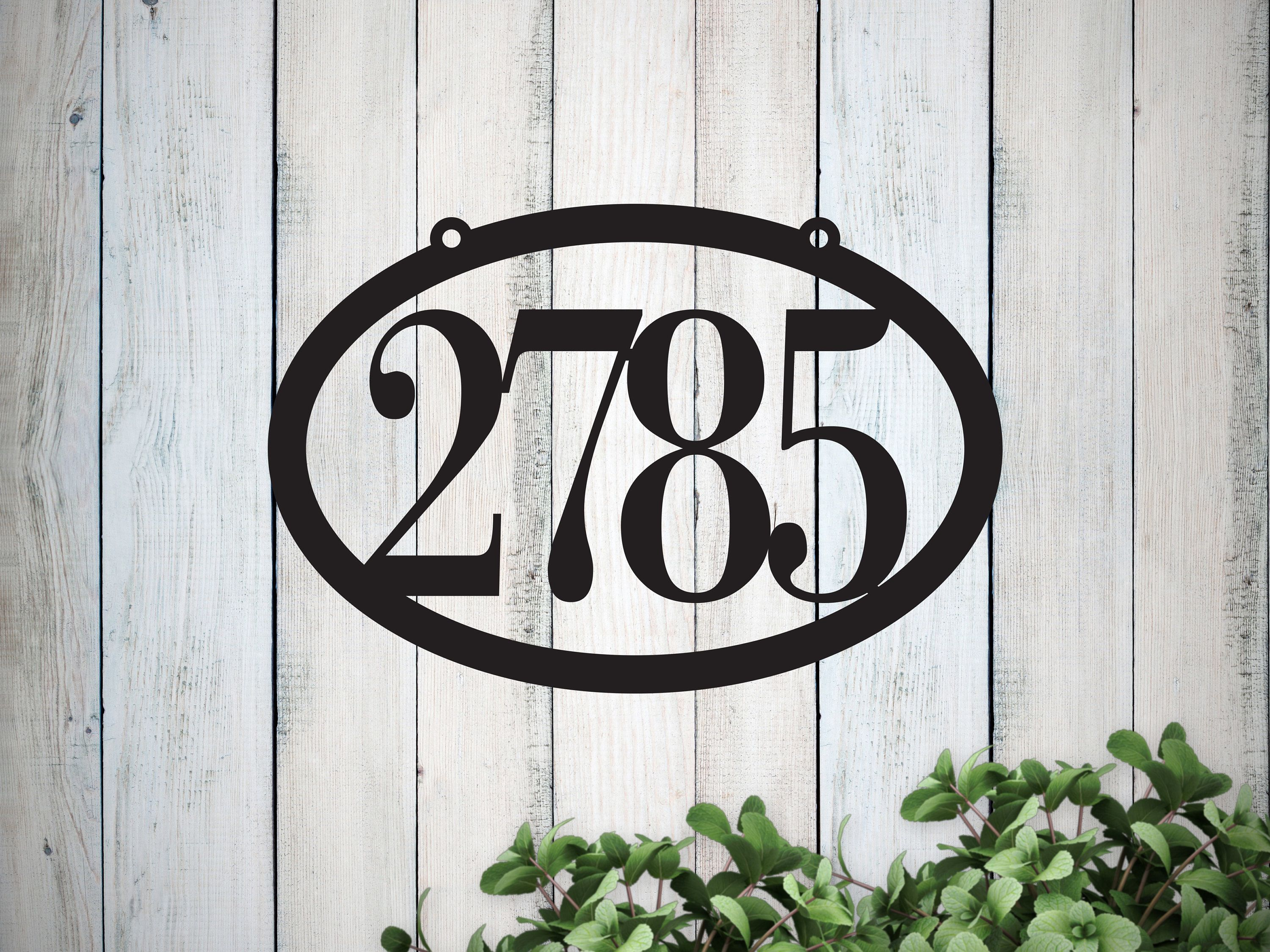 House Number Sign Metal Address Plaque Outdoor Hanging House