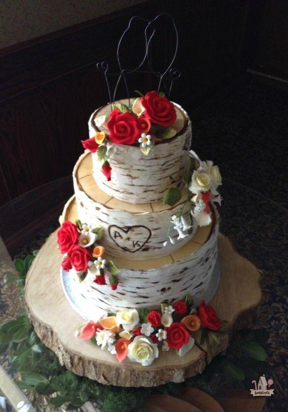 Birch Tree Tiered Wedding Cake On Sweetopia