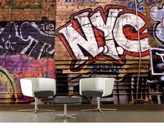 papier peint new york graffitti from for the. Black Bedroom Furniture Sets. Home Design Ideas