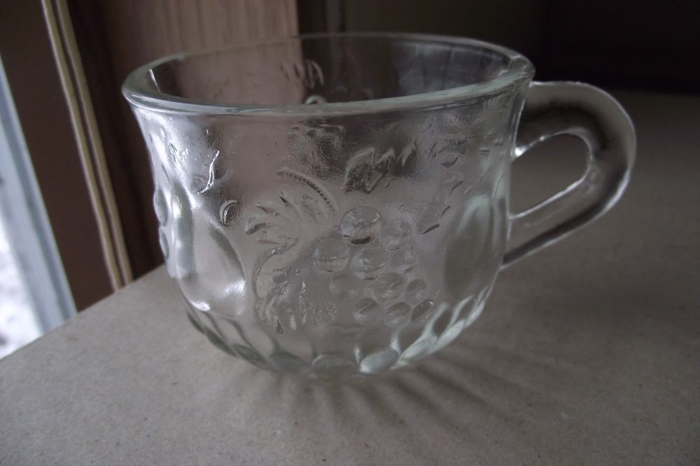 Vintage Clear Glass Tea Cup With Fruit Design Grapes Pears Apples Decorative Use Unbranded Mugs Glass Tea Cups Tea Mugs