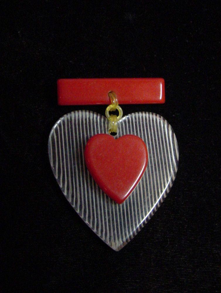 "Vintage RED BAKELITE & LUCITE HEART PIN Brooch 3"" x 2"" Valentines Day"