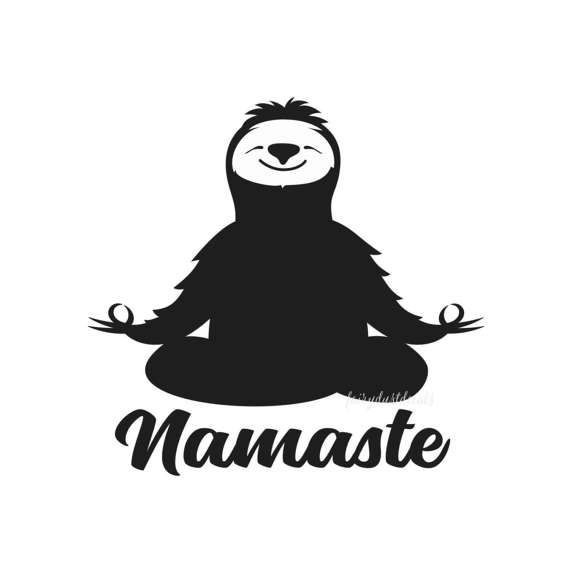 Namaste decal sloth yoga funny laptop decal meditation