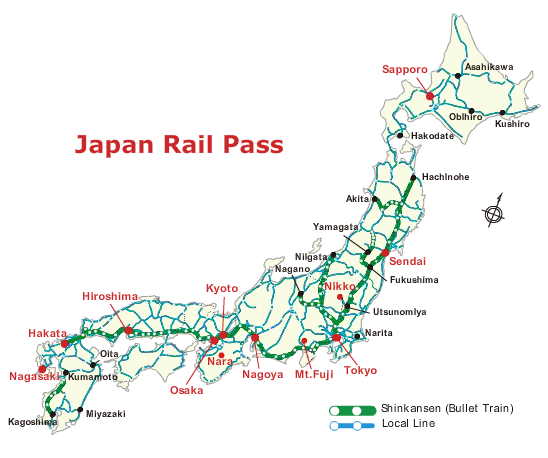 Click here to see a detailed map of the Japan Rail Pass routes ...
