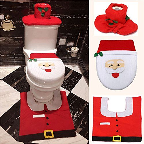 Leadpo Christmas Decorations Happy Santa Toilet Seat Cover and Rug ...