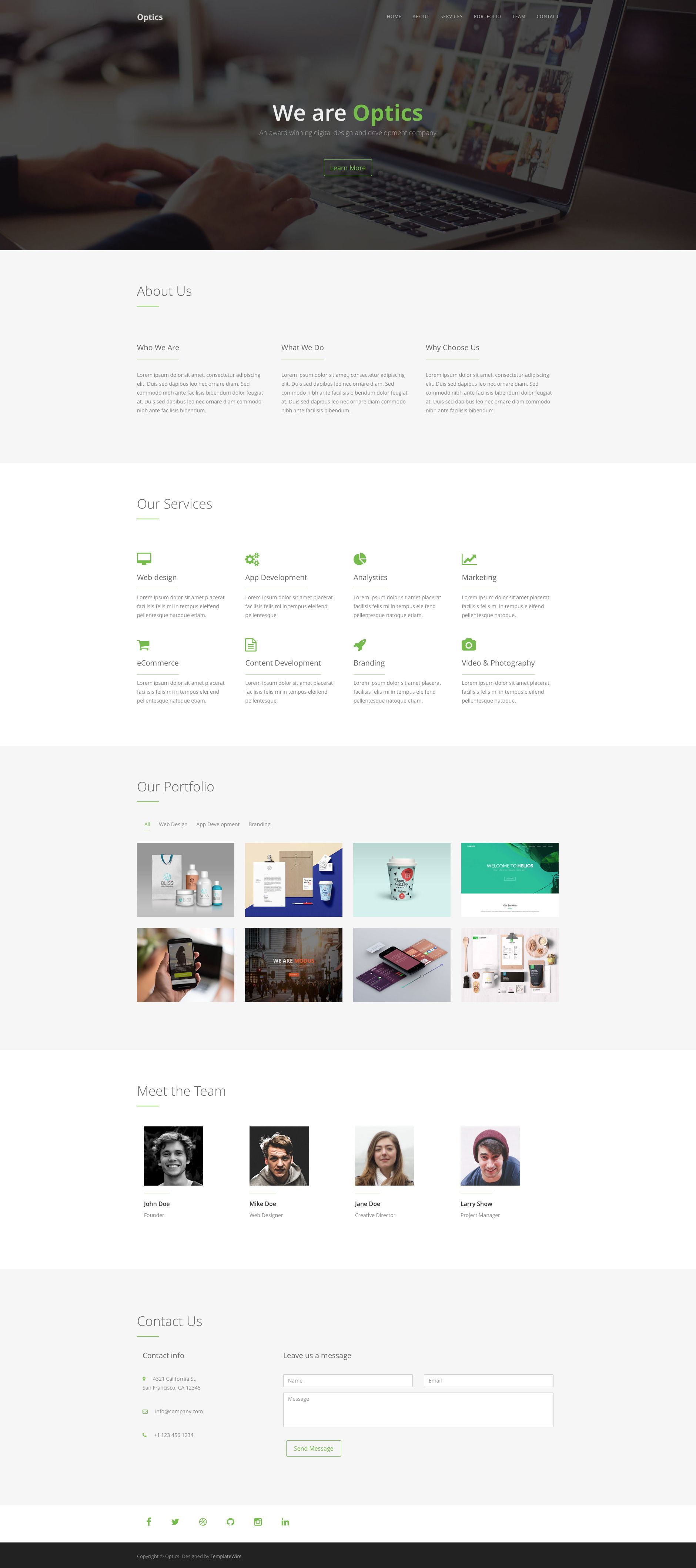 Optics is a creative, responsive HTML5 one page template for ...