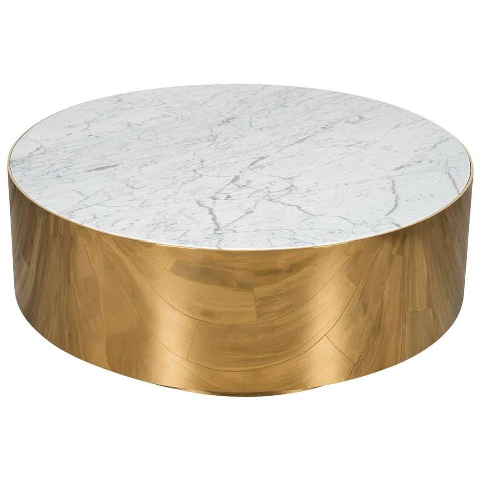 Mid Century Modern Smooth Finish Round Shiny Brass Carrara Stone