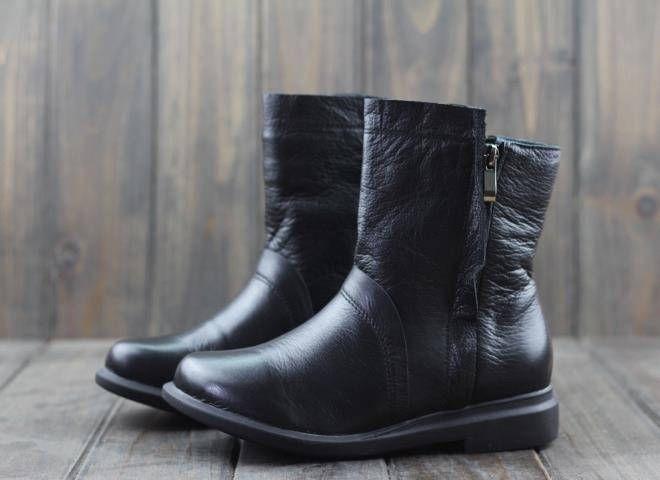 Zapatos de cuero negro de invierno para mujer bddda4c3bd7a