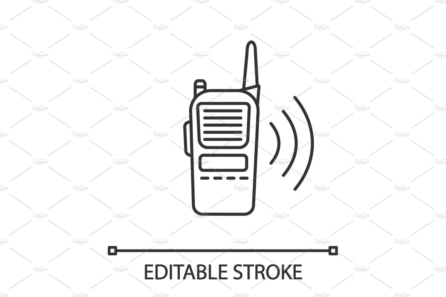 Walkie Talkie Linear Icon Line Illustration Radio Drawing Outline Drawings