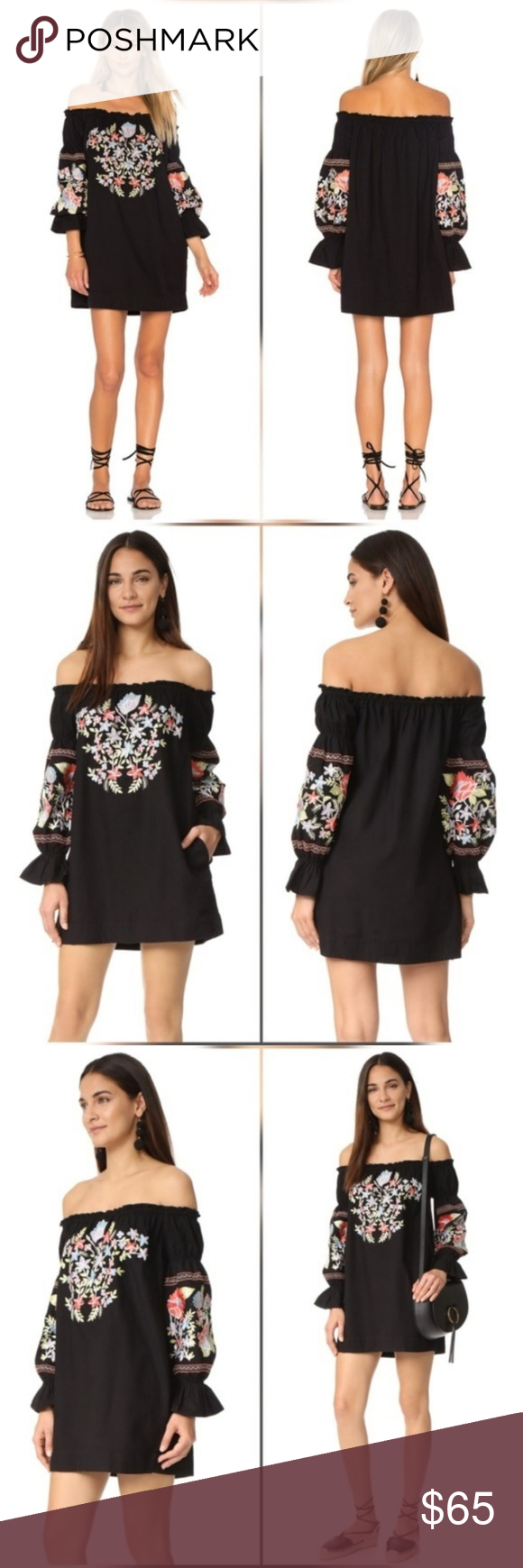 "Free People Fleur De Jour Off the Shoulder Dress New with tags. Perfect condition. No trades. Approximate measurements: Chest flat across 20"" Length 28.5"" Sleeve 23"" Has pockets. Free People Dresses"