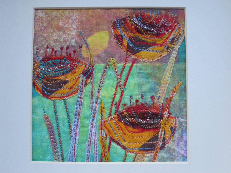 Flower embroidery wall art original textile screen print