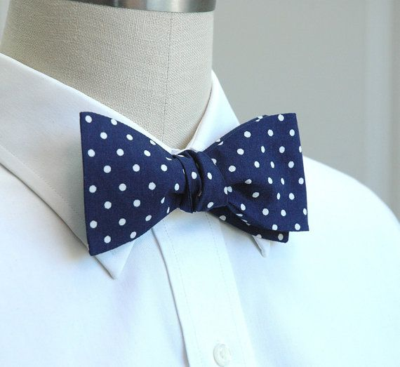 bf38066704bf Men's Bow Tie in classic navy and white polka dots by CCADesign, $28.00