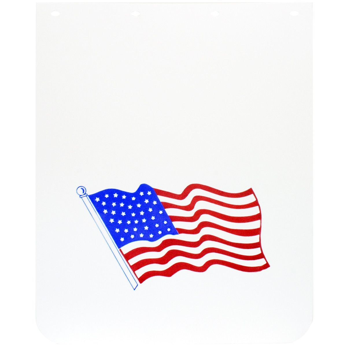 White Poly Mud Flap With American Flag (Sold by Each)