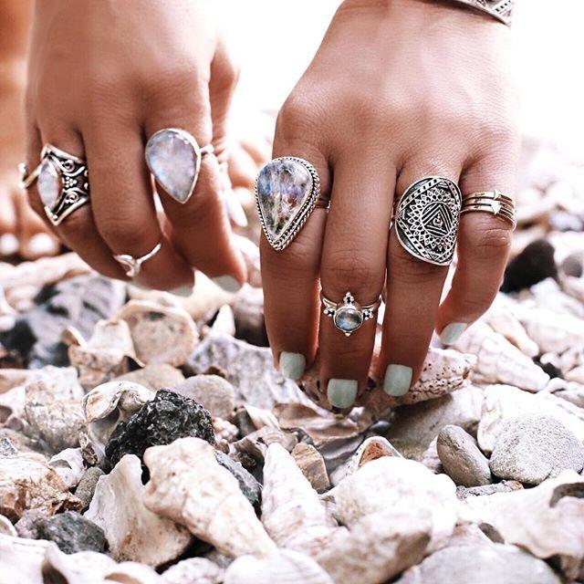 @gypsylovinlight wearing @indieandharper Moonstones and Mandala Rings   @bobbybense