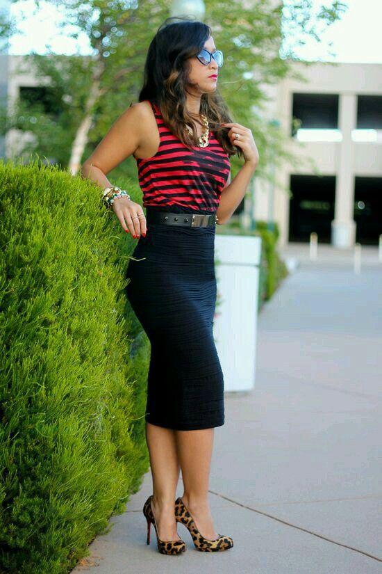 Outfit Casual y sofisticado con falda tubo negra. Más dfee54409d50