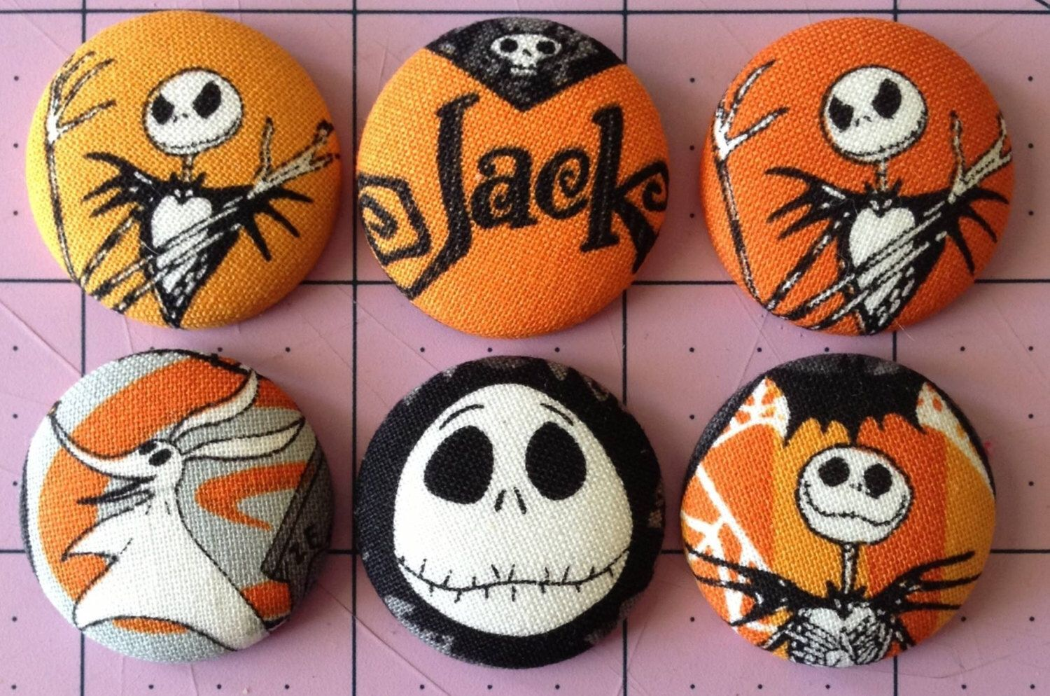 """The Nightmare Before Christmas magnets - NMBC - large 1 1/8"""" - 6 magnets set - strong magnets - cartoon magnets - Jack Skellington  https://www.etsy.com/listing/251992331/the-nightmare-before-christmas-magnets"""