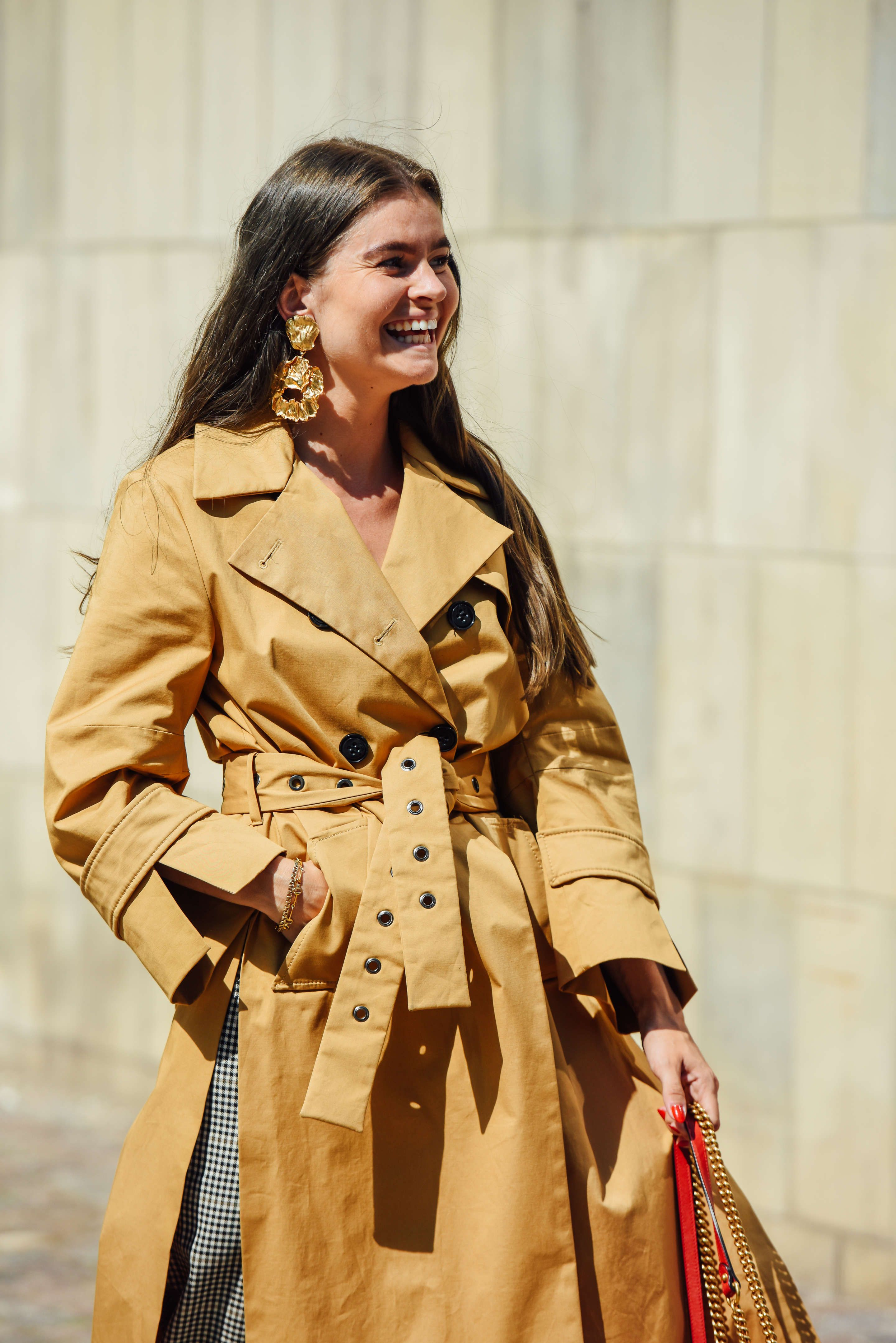Belted Trench Coat And Statement Earrings Trench Coat Coat Trench Coats Women [ 4315 x 2880 Pixel ]