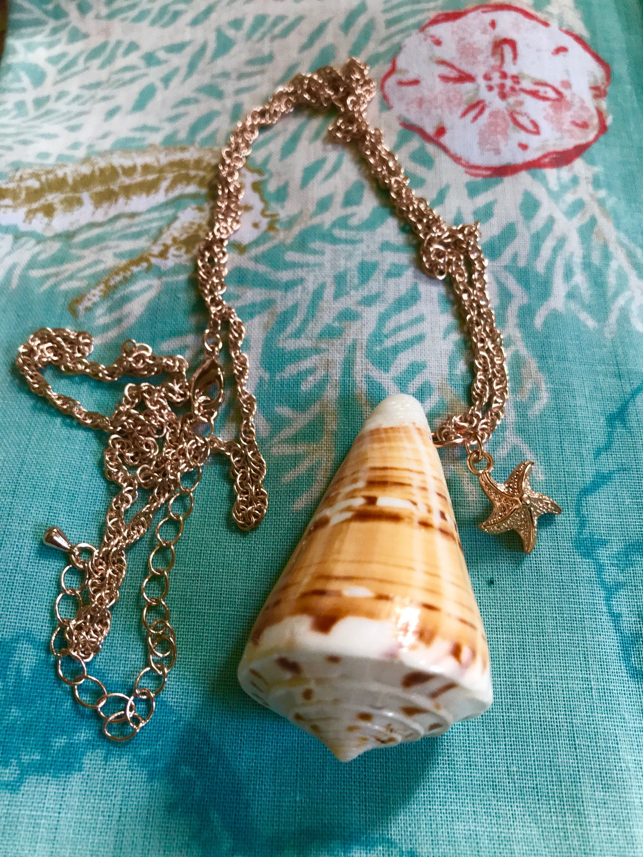 Florida Cone seashell necklace on rose gold chain starfish charm