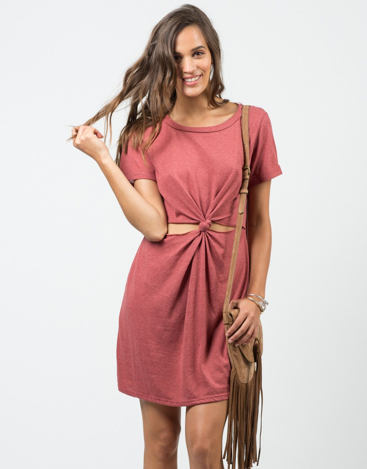 Twist Front T-Shirt Dress – Dresses – 2020AVE