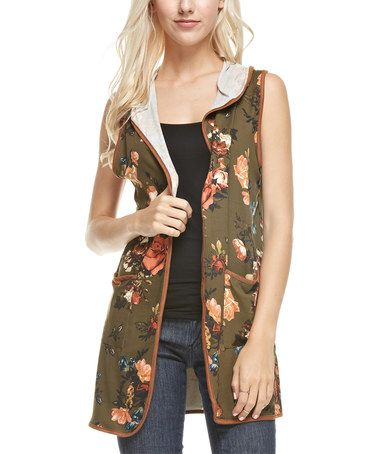Look what I found on #zulily! Olive & Blue Floral Hooded Vest #zulilyfinds