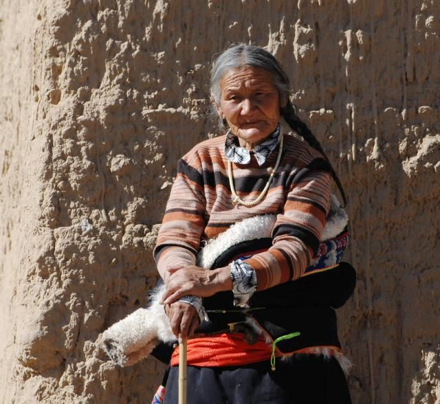 The local old woman in Tibet.