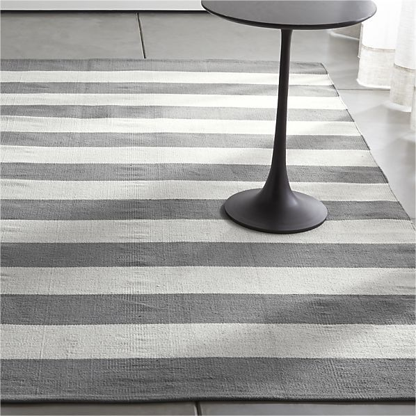 Olin Grey Striped Cotton Dhurrie Rug Crate And Barrel Grey And