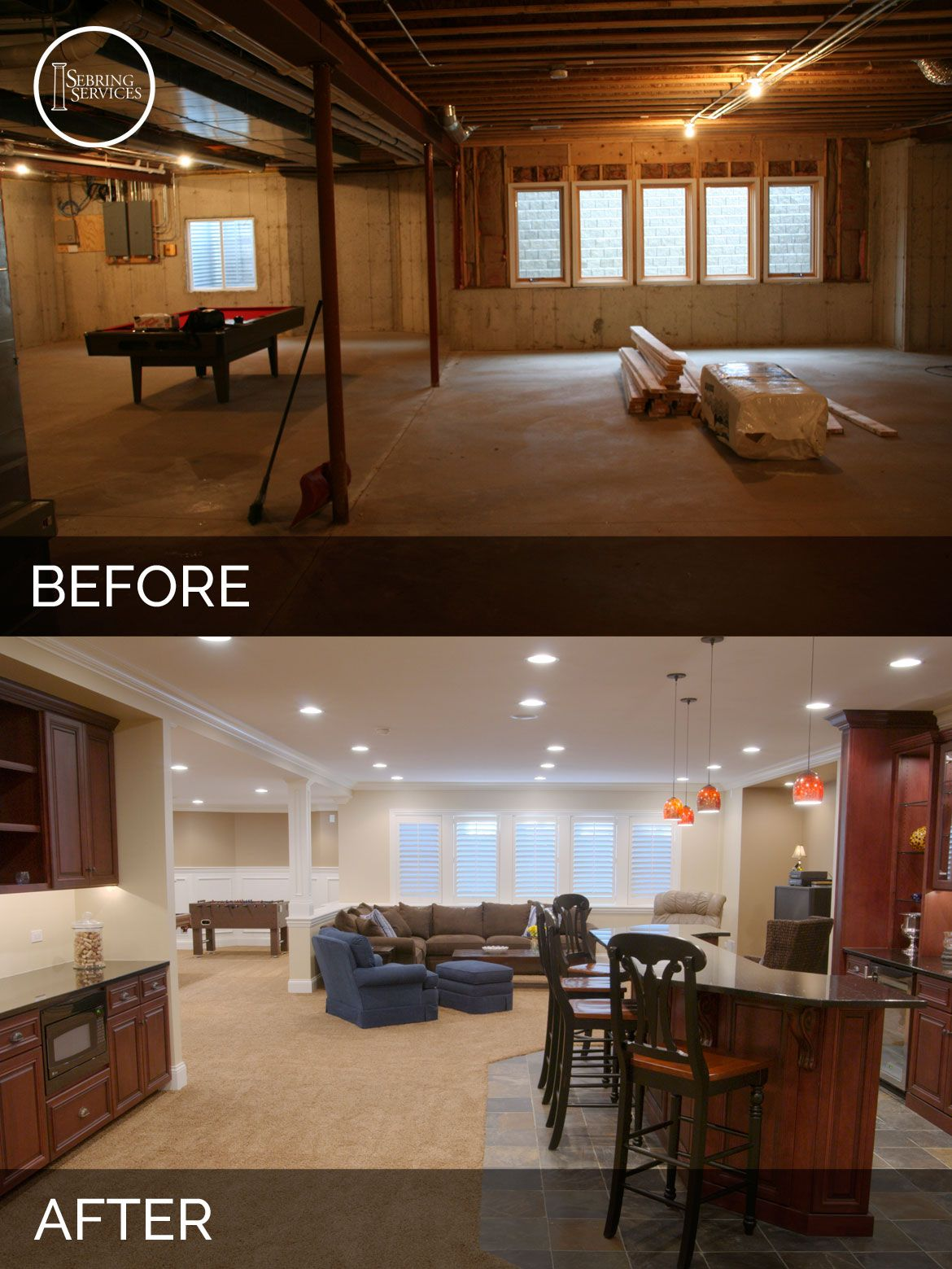 Marvelous Before And After Basement Remodeling   Sebring Services