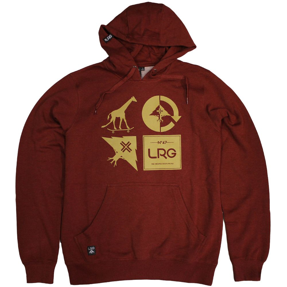 Lrg RC Logo Mash Up Pullover Hoodie Maroon Heather