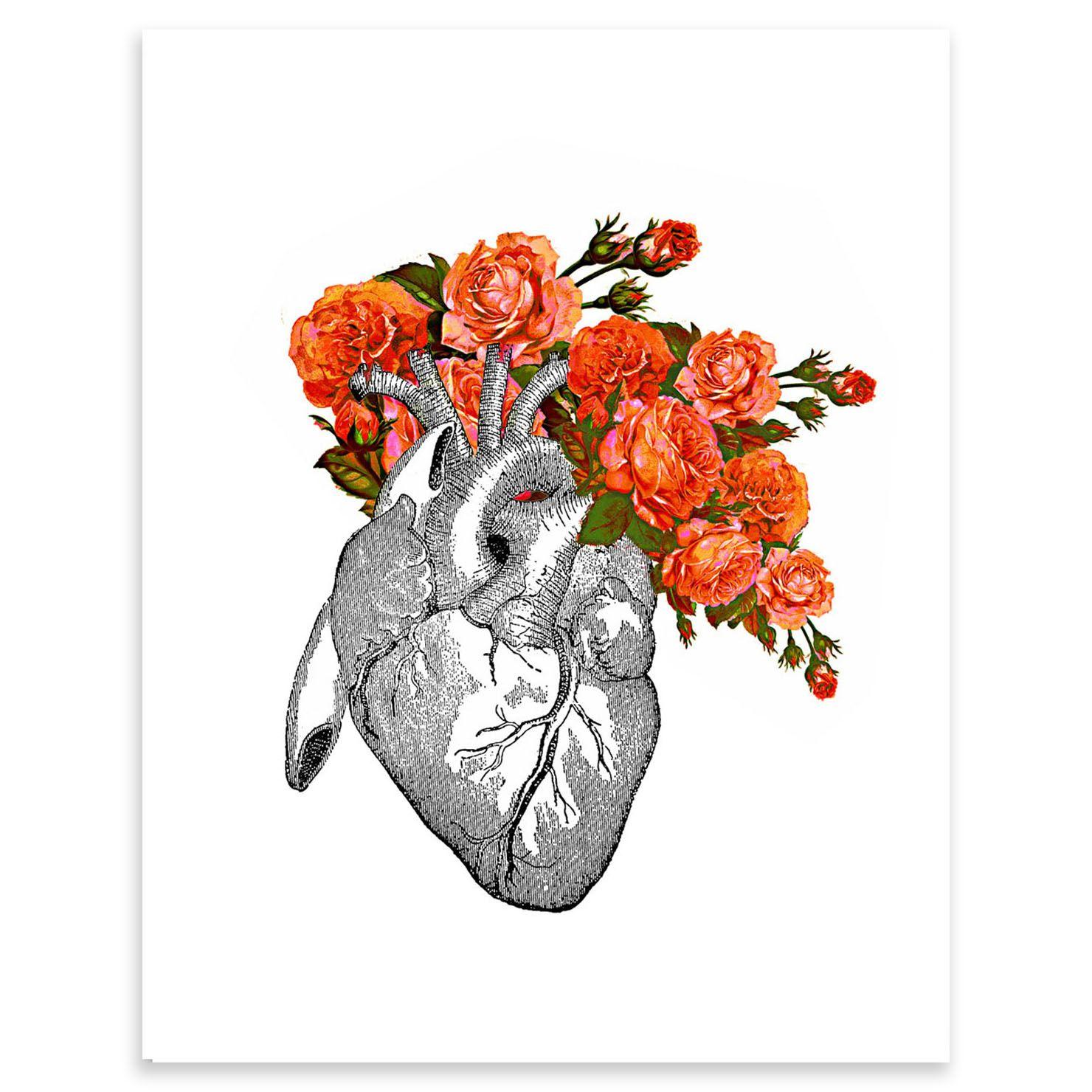 Rococco La - Flowering Heart Screen-print 30 X 35cm Corazon Illustration
