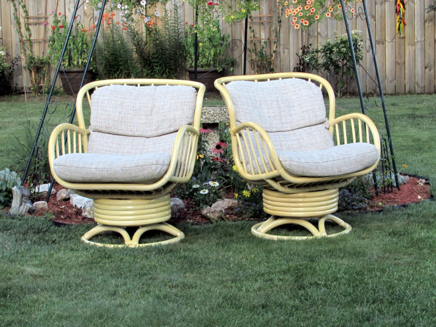 High End Rattan Swivel Rocking Chairs Pair Vintage Bamboo Wicker Furniture