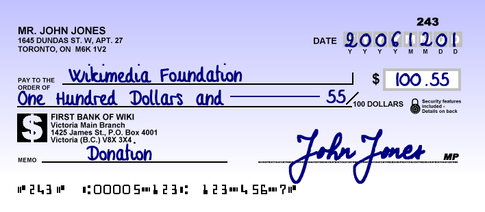 A Cheque Sample From Canada 2006 Writing Checks Life Skills Finance