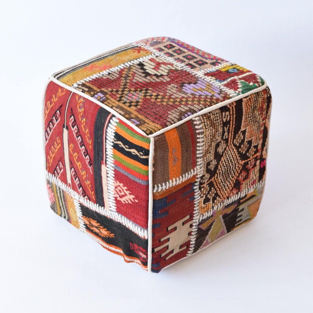 Patchwork Pouf Poef Kilim Ottoman Kilim Pouf Bohemian
