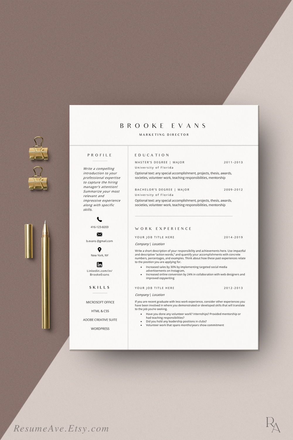 Modern resume template Word instant download minimal