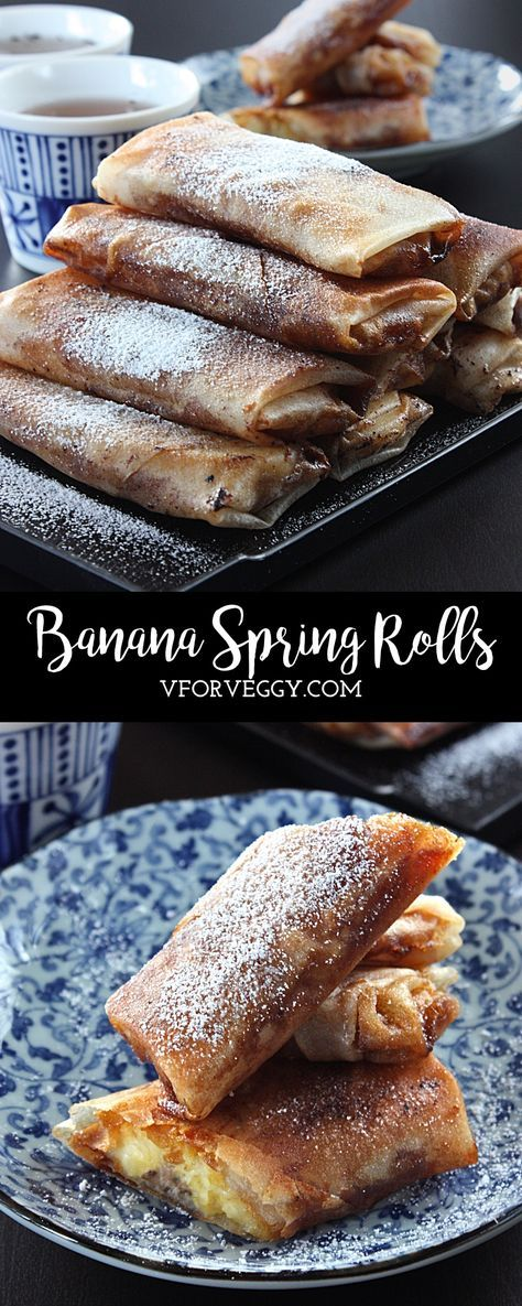 Banana spring rolls indonesian lumpia pisang philippines turon banana spring rolls v for veggy forumfinder Images