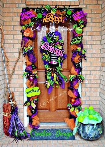 2015 halloween diy deco mesh door garland and wreath door decor handmade mesh garland - Deco Mesh Halloween Garland