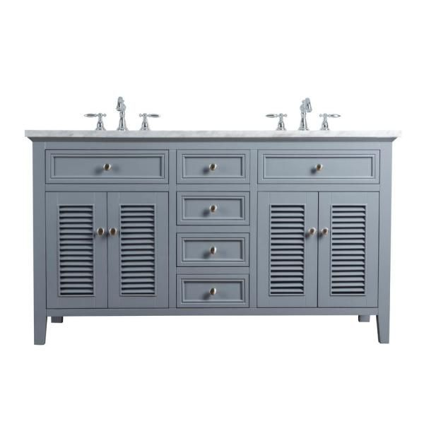 Stufurhome 60 In Genevieve Double Sink Vanity In Gray With Marble