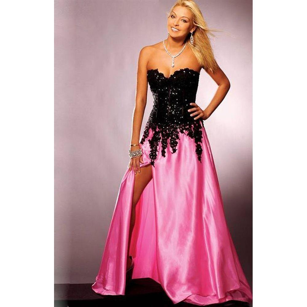 Celebrity Gossip Pink And Black Prom Dress Black dress Fashion ...